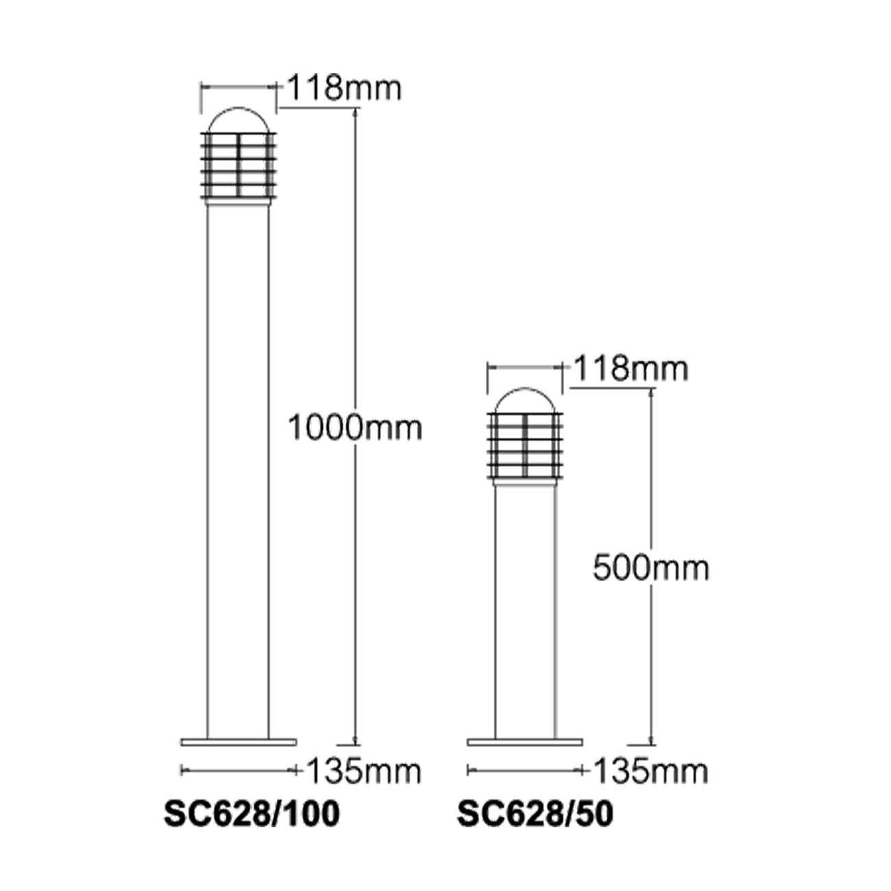 ตัวอย่างขนาดโคมไฟสนาม กรงนกช่องถี่