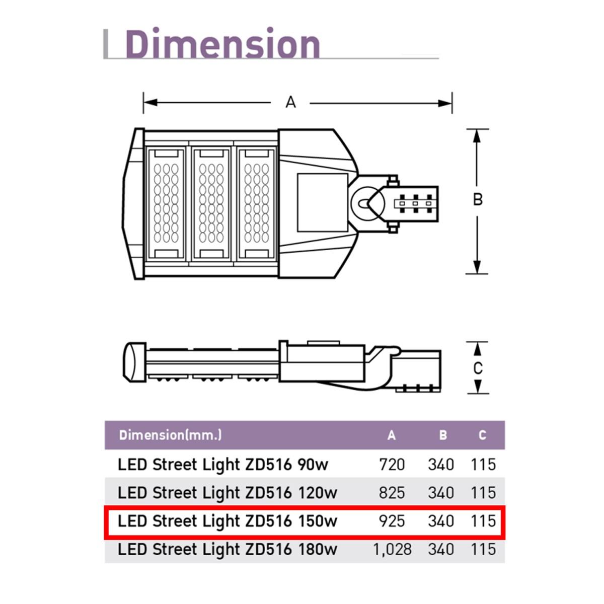 รายละเอียดโคมไฟถนน LED Street Light 150w (วอร์มไวท์) EVE