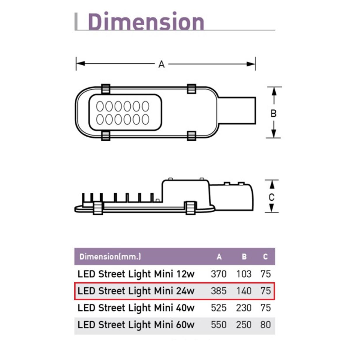 ขนาดและรายละเอียดโคมไฟถนน LED Street Light (Mini) 24w (วอร์มไวท์) EVE