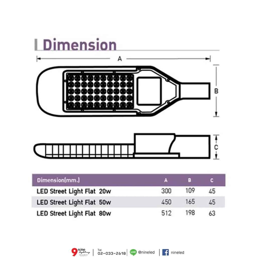 ขนาดและรายละเอียดโคมไฟถนน LED Flat 80W (เดย์ไลท์) EVE