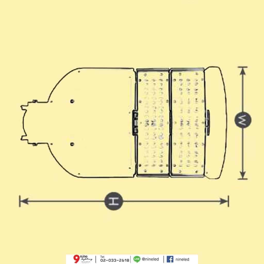 ขนาดโคมไฟถนน LED 60w Module Series (คูลไวท์) GATA