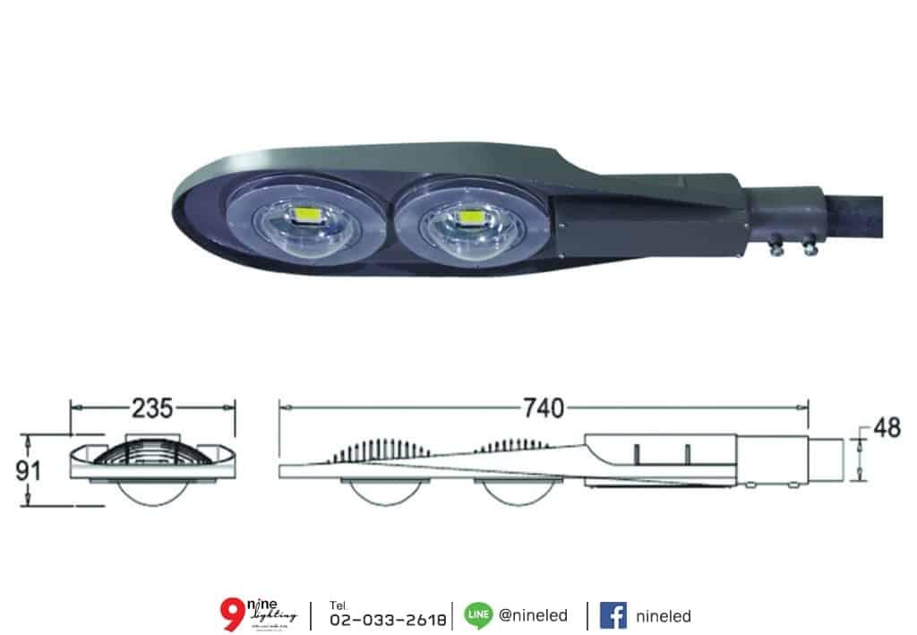 โคมไฟถนน LED Street Light Lumina 60w (เดย์ไลท์) Lunar