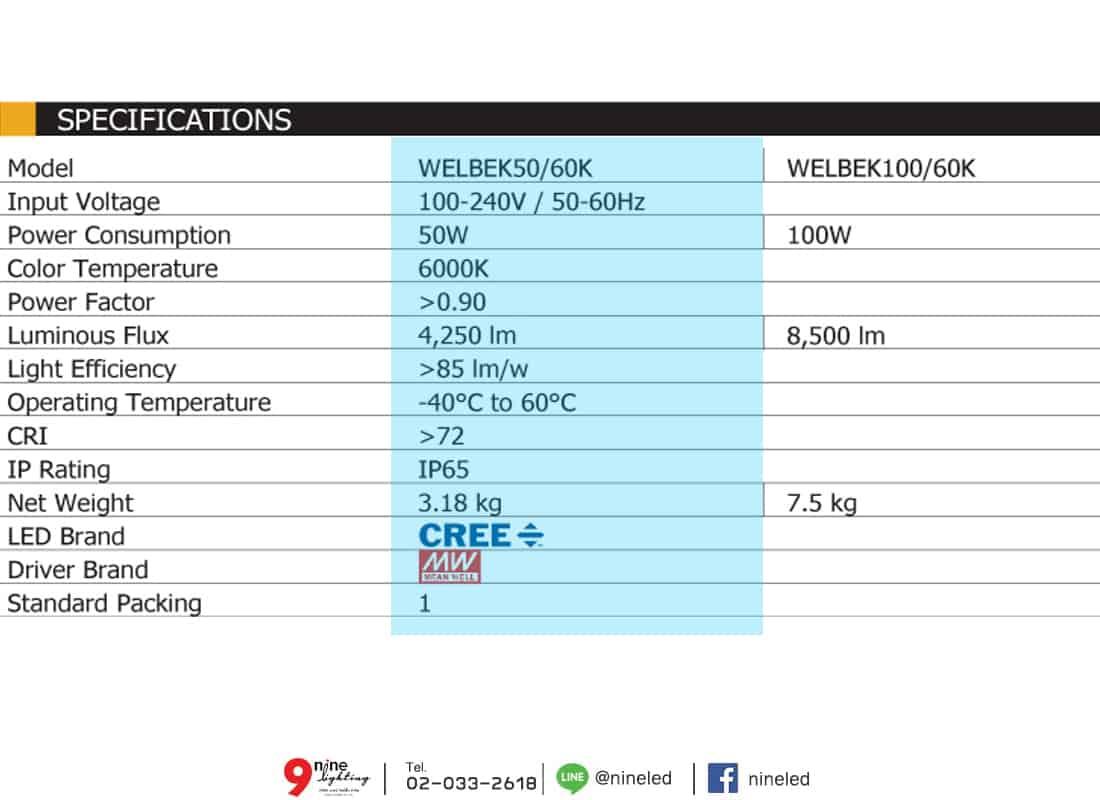 โคมไฟถนน LED WELBEK 50w (เดย์ไลท์) BEC