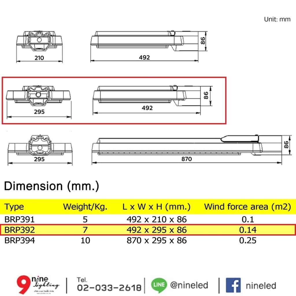โคมไฟถนน LED BRP392 140W (WW) PHILIPS