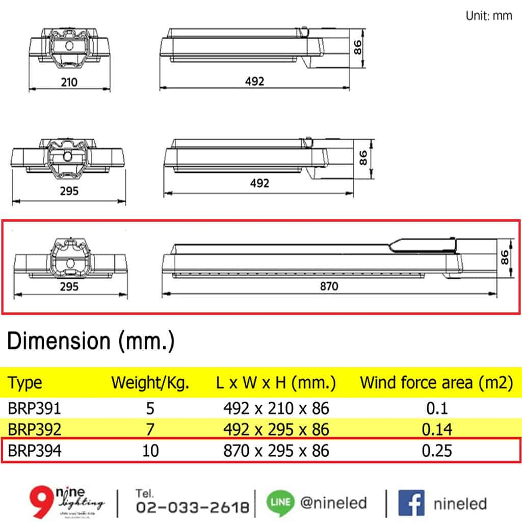โคมไฟถนน LED BRP394 190W (WW) PHILIPS
