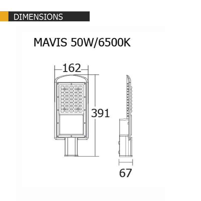 ขนาดโคมไฟถนนLED 50W รุ่นMAVIS ยี่ห้อBEC